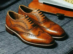Mens Handmade Shoes Wingtip Brogue Brown Leather Formal Dress Casual Wear Boots