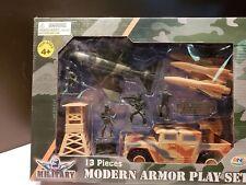 Modern Armor Military 13 pcs Play Set w/ Army Truck, Men, & Jet