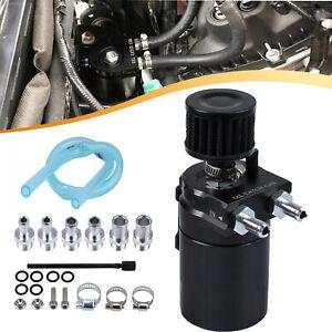 Oil Catch Tank Can Baffled Breather Petrol Diesel Turbo Reservoir Filter Black