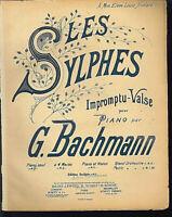 G. Bachmann - LES SYLPHES ~ Impromptu-Valse, alte, übergroße Noten, Piano