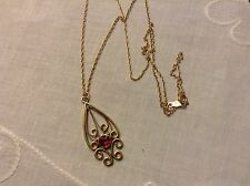 Antique Deco14K Yellow Gold Ruby Lavalier Pendant &14K Yellow Gold Chain 3.5Gram