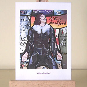 Pilgrim Father ACEO history Art Card William Bradford portrait significant dates