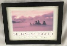 "Wood 5 3/4X7 3/4"" Sign: Believe & Succeed ."