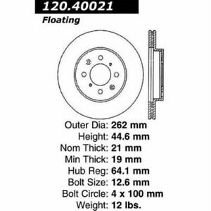 StopTech 128.40021L Sport Cross Drilled Brake Rotor For 97-05 Acura EL NEW