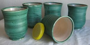 JAPANESE POTTERY Antique Cups Set of 5 Jade-Tone Hand-Made LATE 19TH C