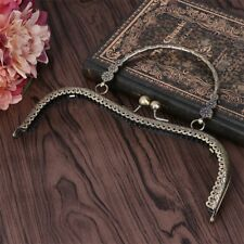 Bronze Arch Flower Metal Purse Bag Frame Kiss Clasp Lock With Handle DIY Craft