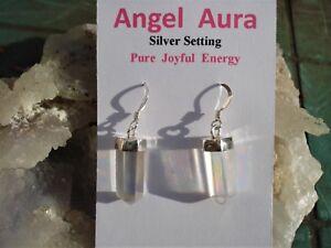 Angel-Opal Aura Quartz Earrings-Platinum 24K Gold, Silver-Color is Permanet