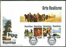 MOZAMBIQUE 2014  REALISM  COURBET MILLET ARKHIPOV LEVITAN  SHEET FIRST DAY COVER