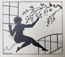 Beau Dessin Ancien RAOUL CHAVE Nu Féminin Femme Silhouette Paysage 1926