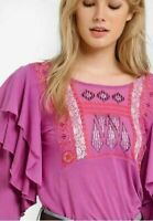 Free People La Cinega Ruffle Top Embroidered Long Sleeve Lace Pink Blouse M New