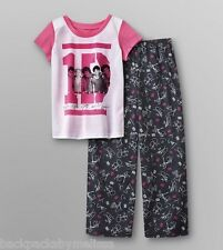 ONE DIRECTION 1D Pink/Black PAJAMAS 10/12 NeW 2 pc Set Pjs S/S Shirt Pants
