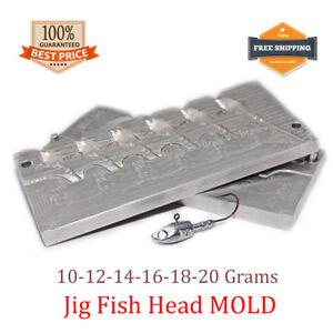 Fishing Fish Head JigHead Mold Lead Jig Sinker Weights 6 cavity (10 - 20 G)