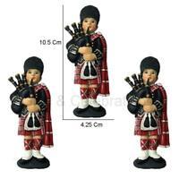 Set of 2 or 3 Scottish Piper Figurine HISTORICAL SCOTLAND Souvenir 4.15 inch GIF