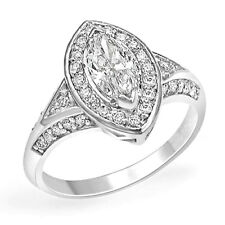 Ring 14K Gold White Sz 7.5 1.25 Ct Marquise Round Solitaire Diamond Engagement