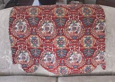 Rare Antique 18thC French Handblocked Partial Quilted Valance~Toile de Jouy