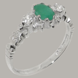 Solid 925 Sterling Silver Natural Emerald & Diamond Womens Trilogy Ring