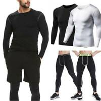Men's Compression Thermal Base Layer Long Shirt Tops Pants Training Workout GYM