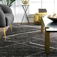 nuLOOM Contemporary Modern Solid and Stripes Area Rug in Dark Grey