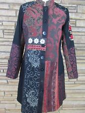 Indikka Sz L Patchwork Boho Lined Jacket Coat Black Burgundy Ivory WOW!