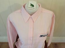 Ladies Grenouille Seersucker Cotton Long Sleeve Shirt Small - Embroidered cat