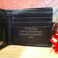 Men's Personalised Engraved Black Leather Wallet Christmas Son Brother Dad Daddy