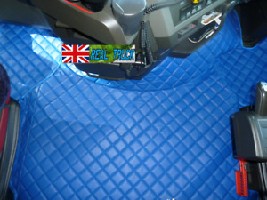 TRUCK ECO LEATHER FLOOR MATS SET FIT VOLVO FH 4 2013+ [TWIN AIR SEATS ]- BLUE
