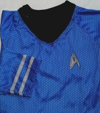 Star Trek Spock Costume Prop Shirt Blue Rubies Original Size Large Polyester