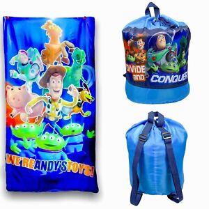Vintage Disney Pixar Toy Story Sleeping Bag Bedding Blue Woody Buzz Lightyear