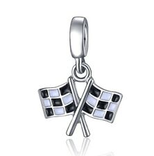 Chequered Flags Finish Line Racing Pendant Charm For Bracelets Silver Plated