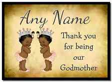 Vintage Baby Twin Black Girls Godmother Thank You  Personalised Placemat