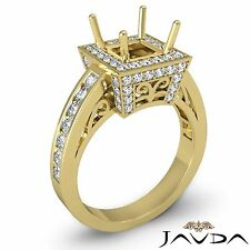 Diamond Engagement 18k Yellow Gold Princess Semi Mount Halo Filigree Ring 1Ct