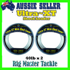 2x Shock Leader 100m Spools Ultra XT Fishing Line Monofilament 40lb Rig Master