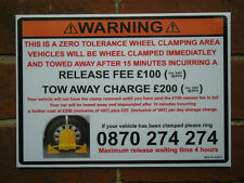 Wheel clamp sign very official looking - pub club shop office  private car park