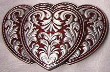 Pewter Belt Buckle Overlapping Hearts red NEW