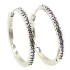 Beautiful Amethyst Woman's Wedding Silver Earrings
