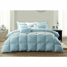 Snowman750+ FP Goose Down Comforter/Duvet 100% Egyptian Cotton King- Blue
