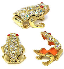 Baby Frog Trinket Box with Colorful Austrian Crystals & Magnetic Closure