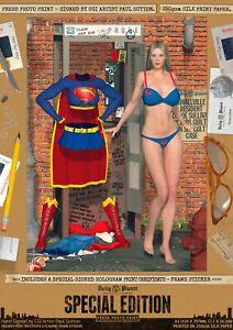 Supergirl OMG! Bra SEXY A3 Signed DC Comic Art Print Smallville Superman