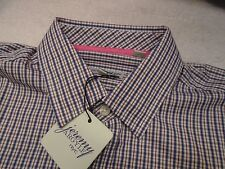 Jeremy Argyle of NYC Blue and Dark Red Grid Check Sport Shirt NWT Small $148