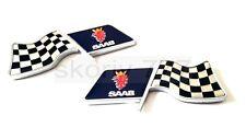 SET of 2x SAAB SPORTS RACING FLAG Metal Chrome Car Badge Sticker Decal Emblem