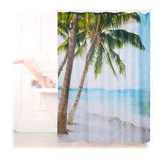 Duschvorhang Strand Badewannenvorhang 180x180 Palmen Anti-Schimmel Wannenvorhang