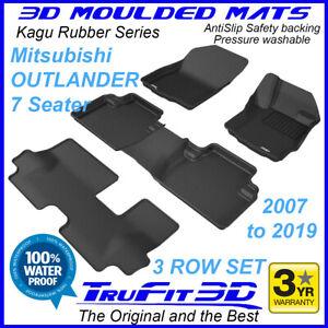 Fits Mitsubishi Outlander 2007 - 2021 7 Seater 3D Rubber Car Floor Mats 3R