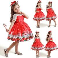 Christmas Toddler Kids Baby Girl Santa Lace Print Princess Dress+Hairband Outfit