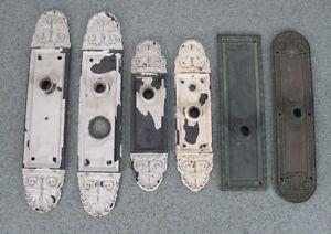 "Six Antique 19th C Iron & Brass/Bronze Door Knob Backplates Largest 15"" yqz"