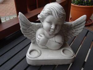 Steinfigur Putte Engel Engel Weißbeton grau patiniert  Figuren