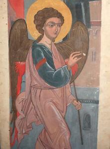 VINTAGE RELIGIOUS PORTRAIT GOUACHE PAINTING ARCHANGEL