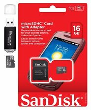 SanDisk 16GB 16G MicroSDHC MicroSD TF Flash Memory Card w Adapter & Card Reader