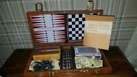 vintage travel games set chess/backgammon/checkers/dominoes/cribbage in case