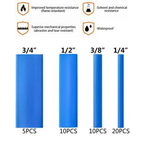 45PCS Dual-Wall Adhesive Lined Blue Marine Grade 3:1 Ratio Heat Shrink Tubing