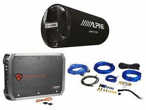 """ALPINE SWT-S10 1200w 10"""" Car Subwoofer in Bass Tube Enclosure+Amplifier+Amp Kit"""